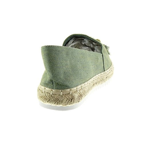 Tacco Verde Fantasia Suola Donna Piatto 5 Scarpe Angkorly Ricamo di 2 Tacco Espadrillas on Moda Mocassini Slip Sneaker Corda cm wCHOYq