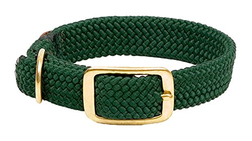 Mendota Products Double Braid Dog Collar, Hunter Green, 1 x 18-Inch