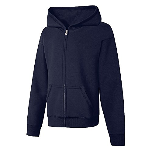 Hanes Big Girls' Comfortsoft Ecosmart Full-Zip Fleece Hoodie_Navy_L
