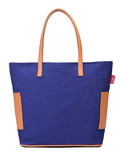 Donne Mano A Le Design Fortuning Per Splicing Pelle Borsa Di Pu Tela Elegante Jds® Classico Blu In PFqwZxB