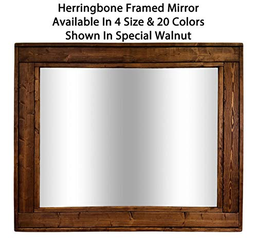 (Herringbone Reclaimed Wood Framed Mirror, Available in 4 Sizes and 20 Stain colors: Shown in Special Walnut - - Rustic Modern Home - Home Decor - Mirror - Housewares - 24x30, 36x30, 42x30, 60x30)