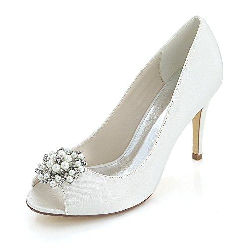 L@YC Tacones altos Para Mujeres Splendid Wedding Office & Evening Fiesta Profesional Fine Heel White