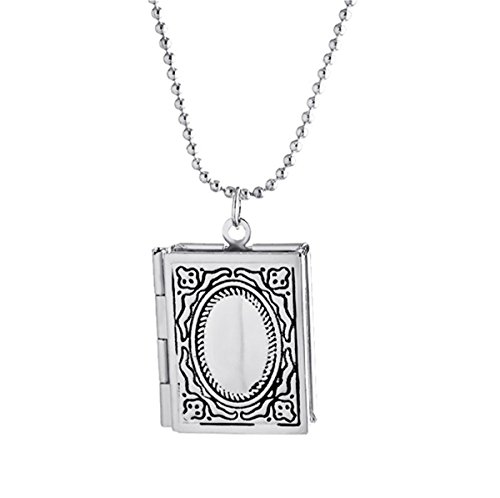Kebaner Silver Story Bible Book Shape Locket Pendant Necklace Engraved Living Memory Christian Jewelry