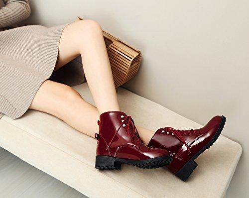 Leder Lack Weinrot Damen Boots Optik Schnürstiefeletten Stiefeletten Schnürer Punk Grunge Worker Honeystore Schnallen Schuhe 1qWZOnTzz