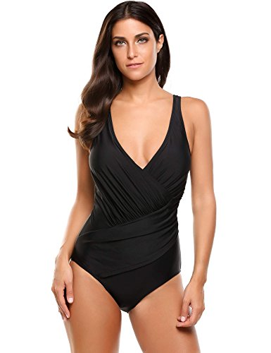 bd4c29291a2 Ekouaer 1 Pc Bathing Suits Woman Vintage Pin Up Swimsuit Plus Size Monokini  (Black