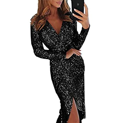 5c1a4b3dc9c2 Women Long Sleeve V-Neck Slim Sequin Bodycon Slit Dress for Party Club Size  S