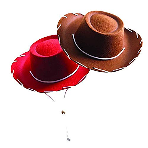 Century Novelty Cowboy Hat Bundle - Brown and Red Childrens Felt Cowboy Hat]()