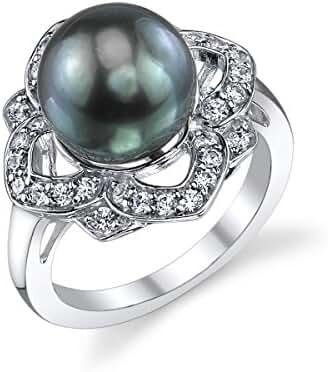 10mm Tahitian South Sea Cultured Pearl & Crystal June Ring