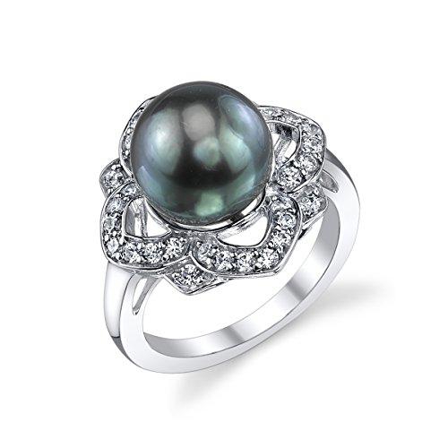 - 10-11mm Genuine Black Tahitian South Sea Cultured Pearl & Crystal June Ring for Women