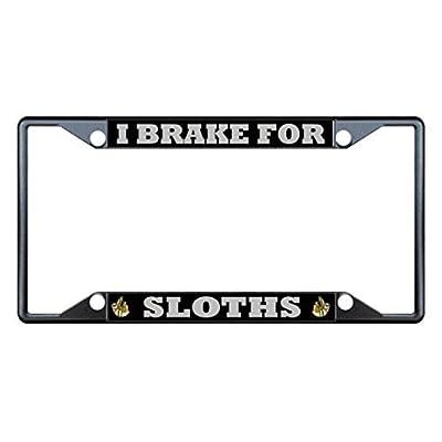 License Plate Covers I Brake For Sloths Animal Black License Plate Frame Tag Holder Four Holes - Bobbit