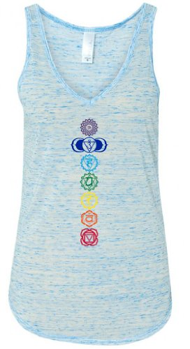 Yoga Clothing For You Ladies Colored Chakras Flowy V-Neck Tank Top, XL Blue Marble