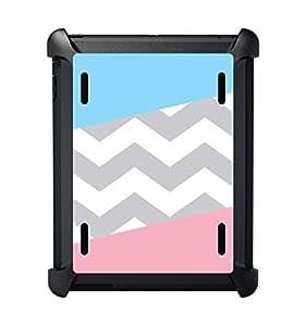 CUSTOM Black OtterBox Defender Series Case for Apple iPad 2 / 3 / 4 - Pink Blue Block Grey Chevron
