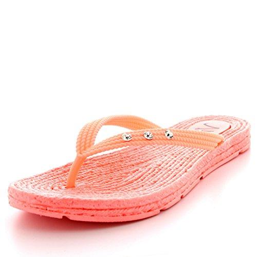Mujer Sandalias Playa Empeine Verano Tacón De Cuña Diamante Chancletas Rojo