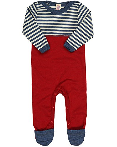 Engel 100% Organic Merino Wool Baby Overall Romper (86/92 (12-24 Months), Blue Melange / Natural) (Wool Overall)