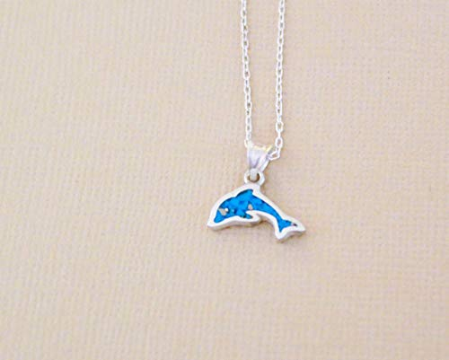 """Dolphin Turquoise Gemstone Mosaic Sterling Silver Necklace, Semi Precious Gemstone 16.3""""-18.5"""" inches (41.5cm - 47cm) Adjustable Chain by Handmade Studio"""