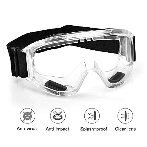 Kookye SL-52 Safety Goggles Glasses with Clear Fog-Free Anti-Spittle Anti Scratch Protection Coated Lenses Spectacles Eye Protection for Adult