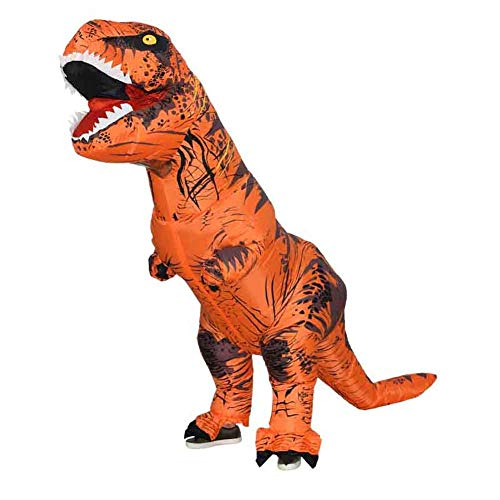 Y&M Costume Jurassic World Adult Child's T-Rex Inflatable Costume with Multicolor,Brown,Child ()