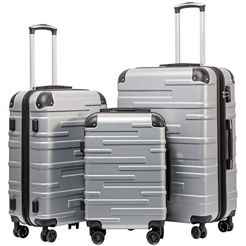 Coolife Luggage Expandable(only 28″) Suitcase 3 Piece Set with TSA Lock Spinner 20in24in28in (sliver)