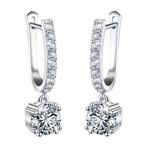 EVER FAITH Gorgeous Cubic Zirconia Bridal Round Drop Hoop Dangle Horseshoe Earrings for Bride Women -