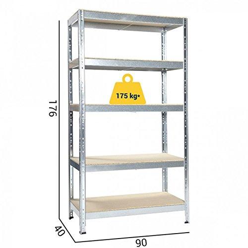 GRIMA - SCAFFALE INCASTRO Alta Portata in legno-metallo ZINCATO 90 X 40 X 176h Portata 875 Kg
