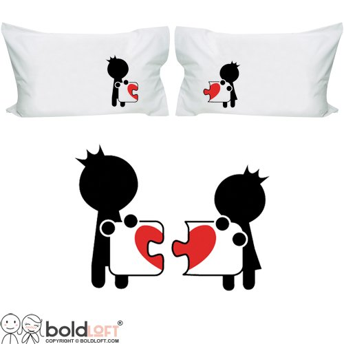 BOLDLOFT Complete My Heart Couple Pillowcases-Couples Gifts,His and Hers Gifts for Gifts,Matching Couple Stuff,Valentines Day Gifts for Her,Him,Girlfriend,Boyfriend,Husband,Wife,Anniversary (Valentines Day Stuff)