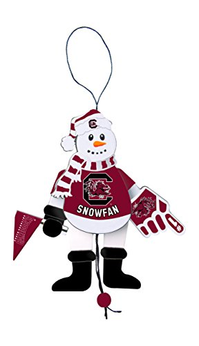 NCAA South Carolina Fighting Gamecocks Wooden Cheering Snowman Ornament