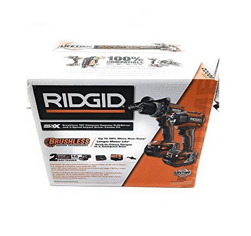 (Ridgid 18-Volt Gen5X Lithium-Ion Cordless Brushless Hammer Drill and Impact Driver Combo Kit with (2) 4.0Ah Batteries)