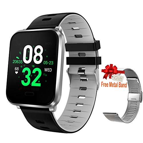 Upgraded Smart Watch, Fitness Tracker Compatible Android & IOS with Heart Rate & Blood Pressure &...