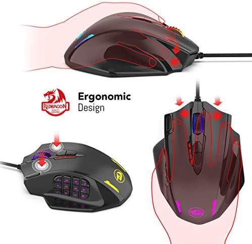 Redragon M908 Impact RGB LED MMO Mouse avec boutons latéraux Souris de jeu filaire laser avec 12,400 DPI, haute précision, 19 boutons de souris programmables