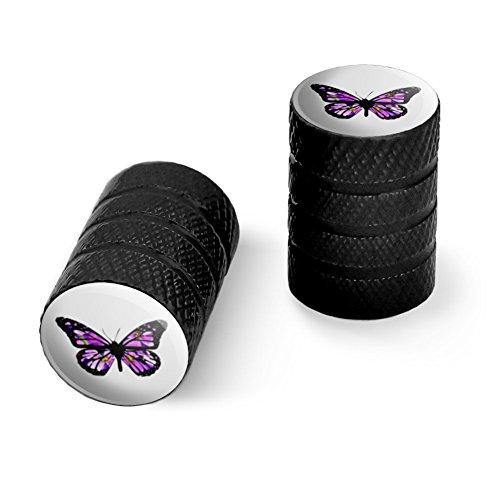 オートバイ自転車バイクタイヤリムホイールアルミバルブステムキャップ - ブラック花と蝶