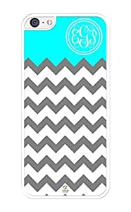 MMZ DIY PHONE CASEiZERCASE Monogram Personalized Grey White Turquoise Modern Pattern ipod touch 5 Case - Fits ipod touch 5 T-Mobile, AT&T, Sprint, Verizon and International (White)