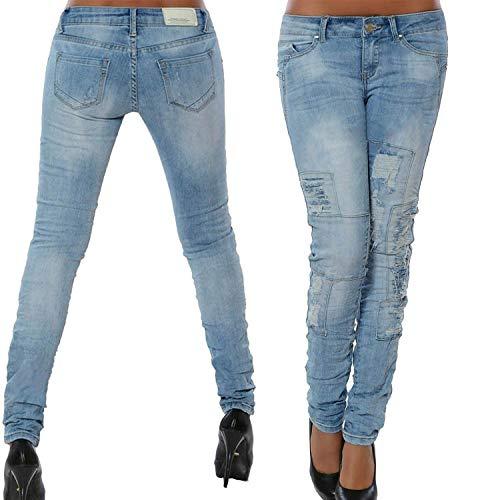 DAMENGXIANG Elásticos De Cintura Ajustados Alta Jeans Blue Pantalones Costura Mujer Múltiple De qUaZ4wqp