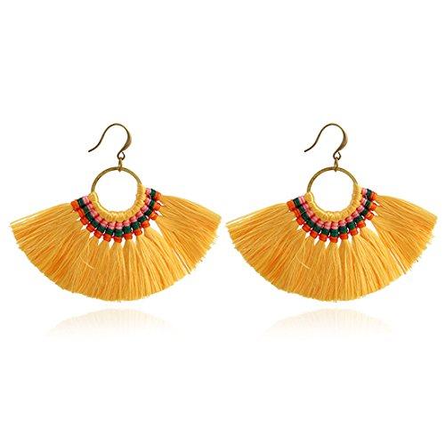JOYA GIFT Boho Yellow Tassel Earrings Hoop Dangle Ear Drop Soriee for (Navy White Earings)