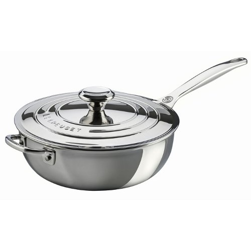 Le Creuset SSP6100-24 Tri-Ply Stainless Steel Saucier Pan with Lid and Helper Handle, 3.5-Quart