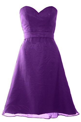 MACloth Women Sweetheart Short Bridesmaid Dress Wedding Party Gown with Sash Violett ggYKQxYvF