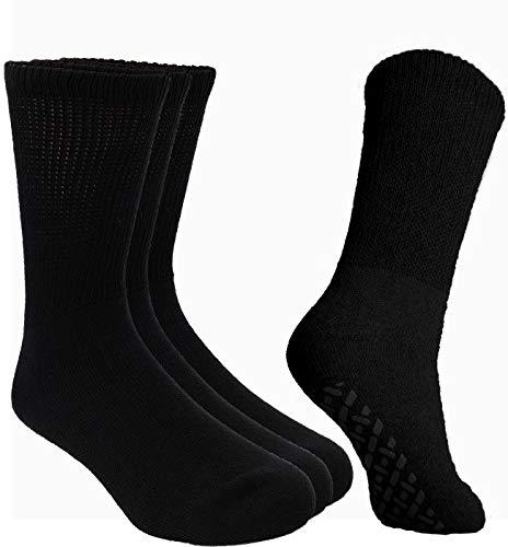Debra Weitzner Non-Binding Loose Fit Sock - Non-Slip Diabetic Socks for Men and Women - Crew, Ankle 3Pk (CREW BLACK with grips, Sock size 10-13/ Fits men's shoe size 7-11.5)