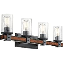 Kichler 4-Light Barrington 9-in Distressed Black and Wood Cylinder Vanity Light