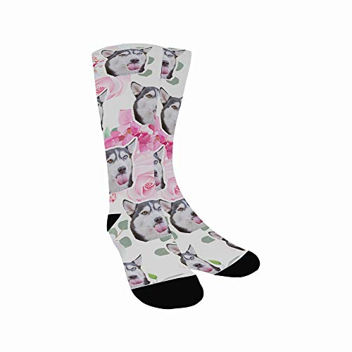 Custom Face Socks Small Wedding Bouquets Rose Peony Alstroemeria Print Your Photo Pet Face Socks Colorful High Crew Personalized Gift For Women Men