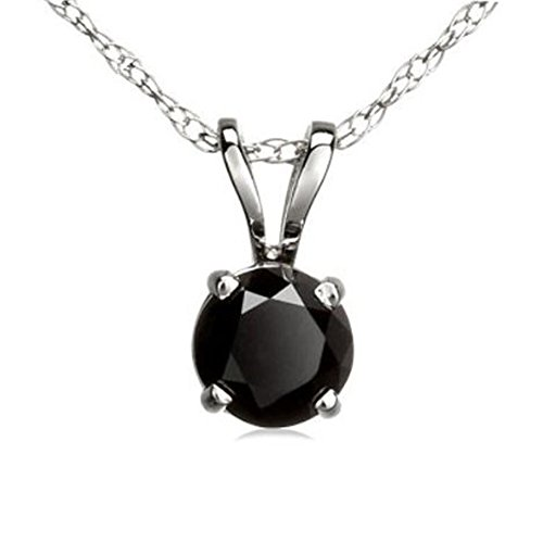 Dazzlingrock Collection 0.50 Carat (ctw) 14K Round Black Diamond Ladies Solitaire Pendant 1/2 CT, White ()