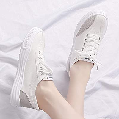 YiYLunneo Women Flat Canvas Shoes Student Casual Running Shoe Fashion Round Head Lace-up Single Shoes Slip-On Sneakers: Clothing