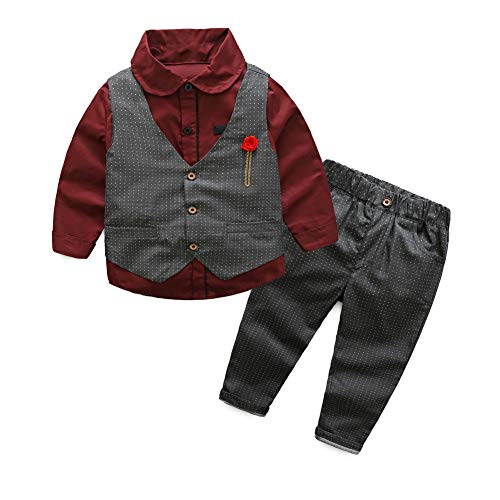 Toddler Little Infant Boys' Dressy 3 Pieces Cotton Clothes Set 3 Years Old Burgundy ()