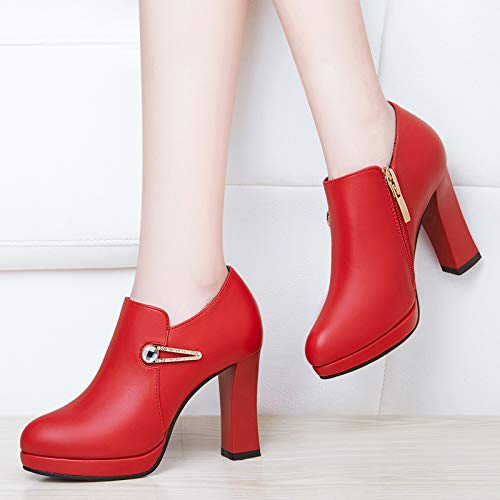 shoes In ladies AJUNR heels heels wedding shoes Women's autumn Work women's gules shoes high Ladies YHHqvIA