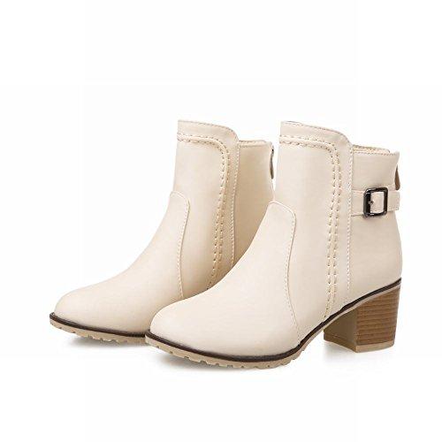 Carolbar Womens Zipper Buckle Fashion Cute Comfort Lovely Mid Chunky Heel Short Boots Beige