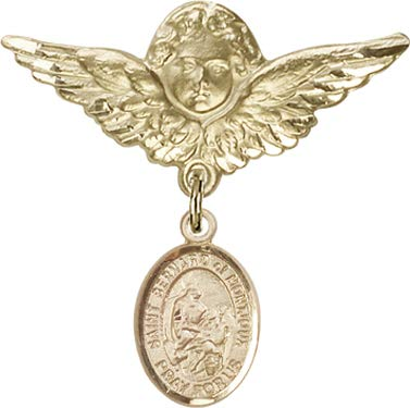 Christening & Baptism Keepsake, 14kt Gold Filled Baby Badge with St. Bernard of Montjoux Charm and Angel w/Wings Badge Pin/Skiers/Mountain Climbers