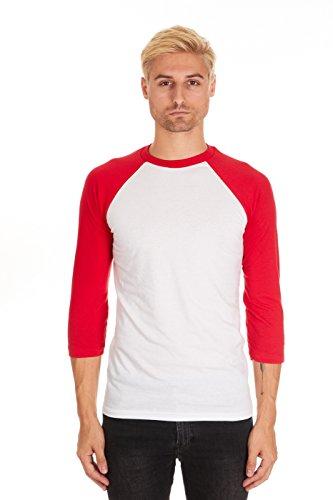 Pacific Mens Raglan 3/4 Sleeve Baseball T-Shirt (X-Large, White-Red)