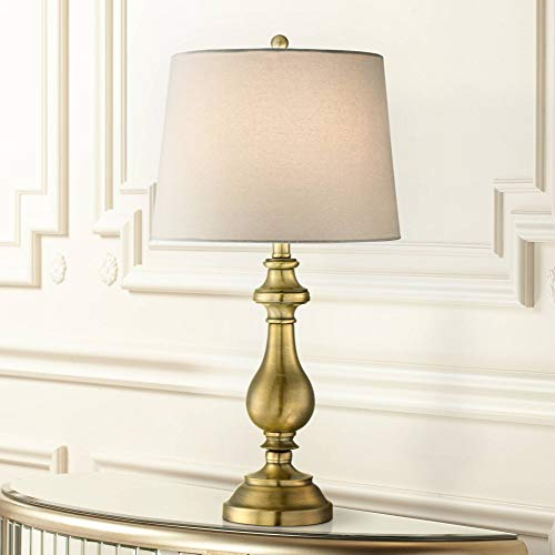 Traditional Table Lamp Antique Brass Candlestick White Fabric Drum Shade for Living Room Family Bedroom Bedside - Regency Hill (Lamps Traditional Desk Brass)