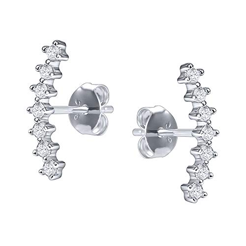 - Curved Climber Stud Earrings Sterling Silver Cubic Zirconia Conch Cartilage Piercing Earrings for Women (White)