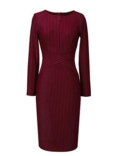 Slim VFSHOW Business Print Party Zipper up Work Sheath Womens Office Striped Burgundy Dress CCrqOw5W