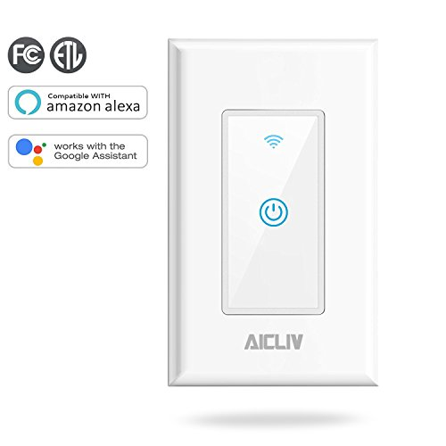 Aicliv Smart WiFi Light Switch In-Wall, No Hub Required, Compatible with Alexa and Google Home, App Remote Control Lights from Anywhere In The World, ETL Listed [Neutral Wire Required]