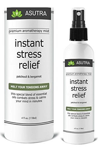 "ASUTRA Premium Aromatherapy Mist -""INSTANT STRESS RELIEF"" - Melt Your Tensions Away, 100% ALL NATURAL & ORGANIC Room & Body Mist, Essential Oil Blend - Patchouli & Bergamot - 100% GUARANTEED"